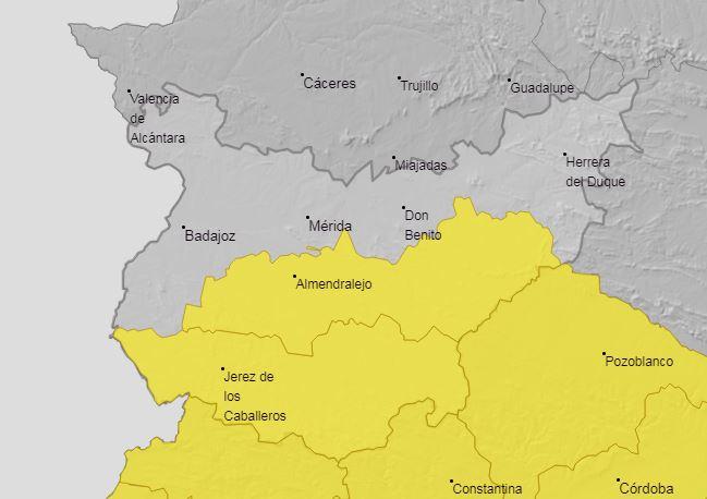 El 112 activa la alerta amarilla por tormentas en Tierra de Barros